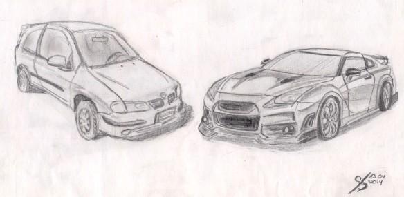 2014-04-13_Nissan Almera und GT-R